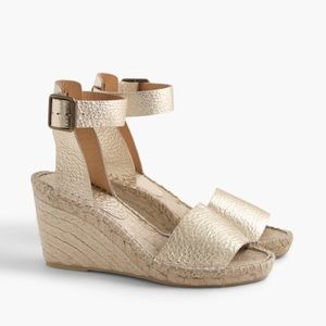 J. Crew • Metallic Wedge Espadrilles